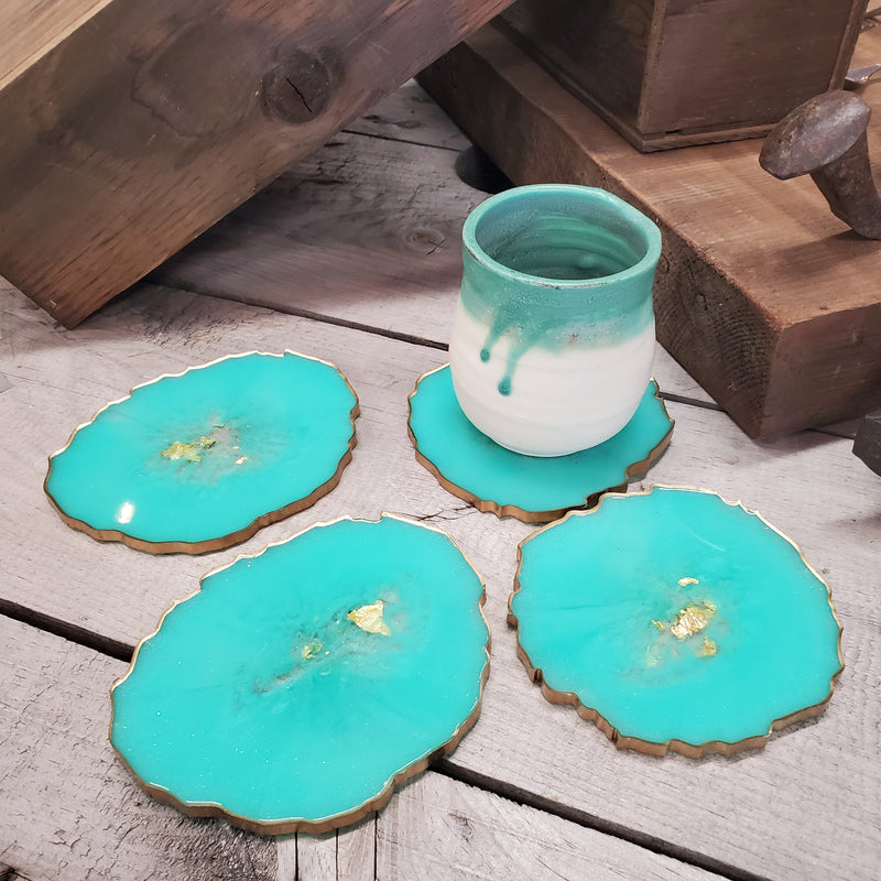 Mint Geode Resin Coaster (Set of 4)