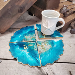 Teal Triangle Geode Resin Coaster (Set of 4)