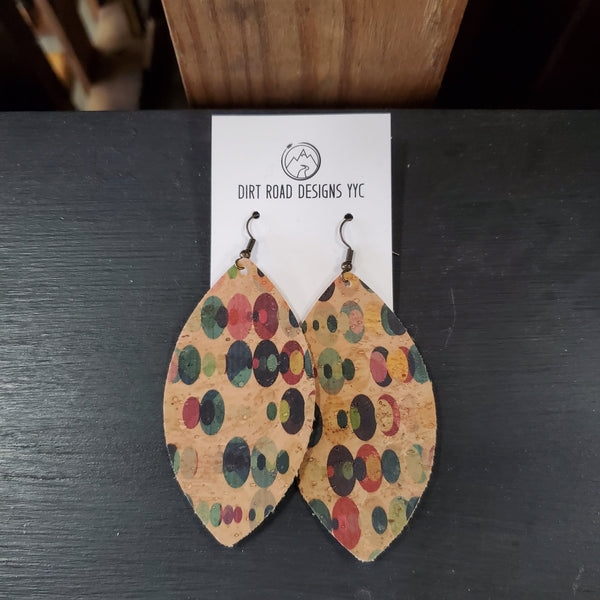 Lightweight Patterned Cork Teardrop Earrings