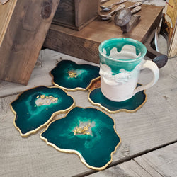 Deep Teal Geode Resin Coaster (Set of 4)