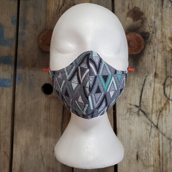 Handmade Face Masks (Teal/Grey Triangles)