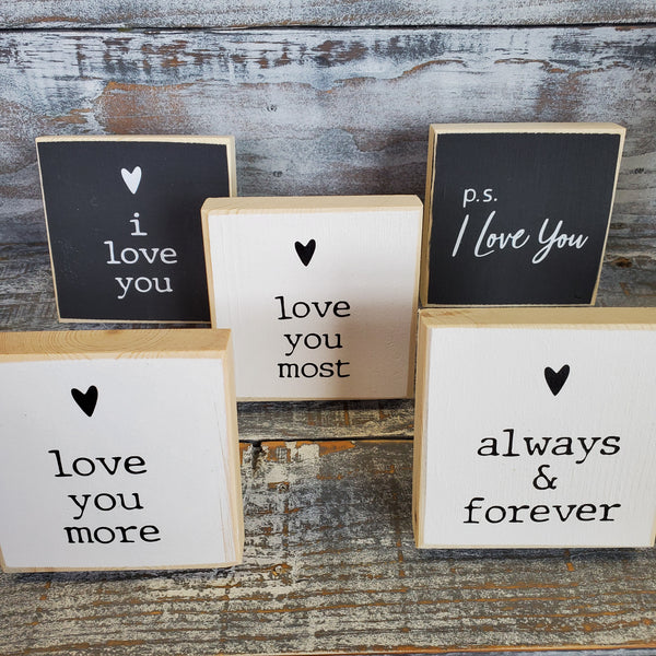 Love Themed Mini Shelf Sitters 3.5 x 3.5