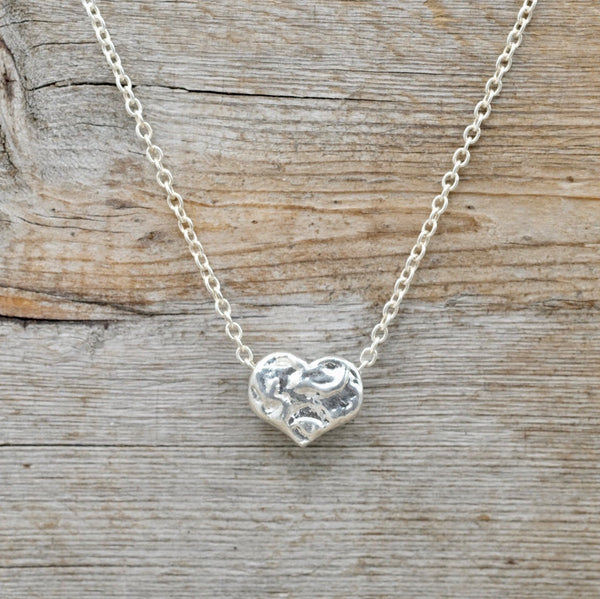 Silver Tethered Heart Necklace/Snake Chain