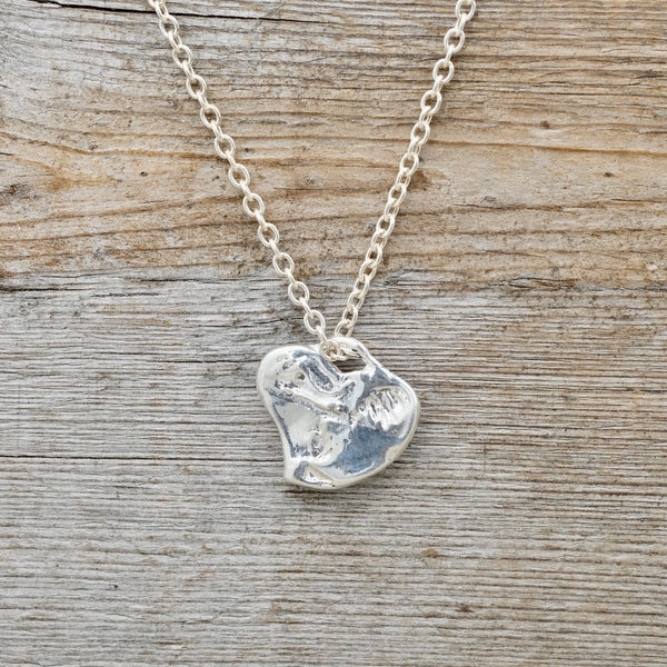 Silver Sheer Heart Necklace/Curb Chain