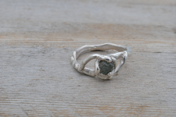 Au Natural Rough Sapphire Silver Ring - size 5.75