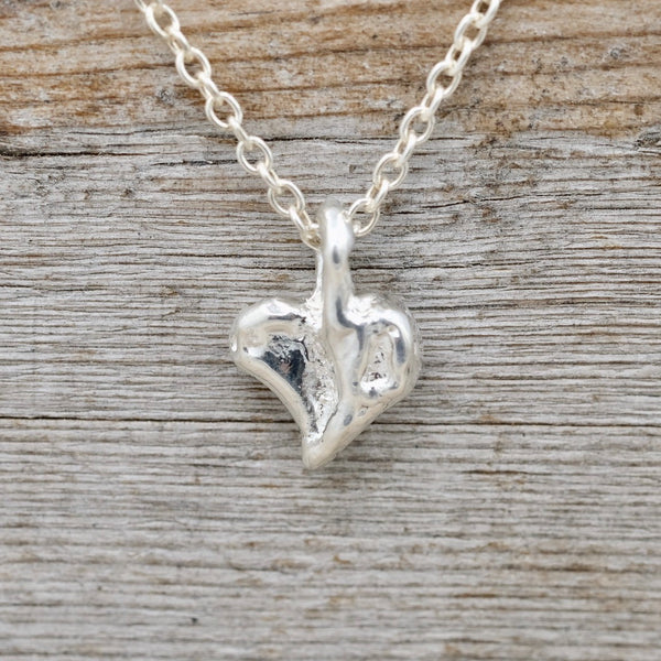 Silver Krinkle Heart Necklace/ Rolo Chain
