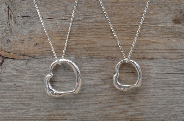 Silver LJ's Heart Pendant + Chain / 3 sizes