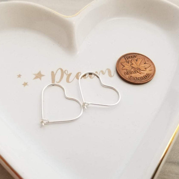 Sterling Silver Small Heart Hoops