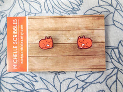 Wooden Cat Earrings