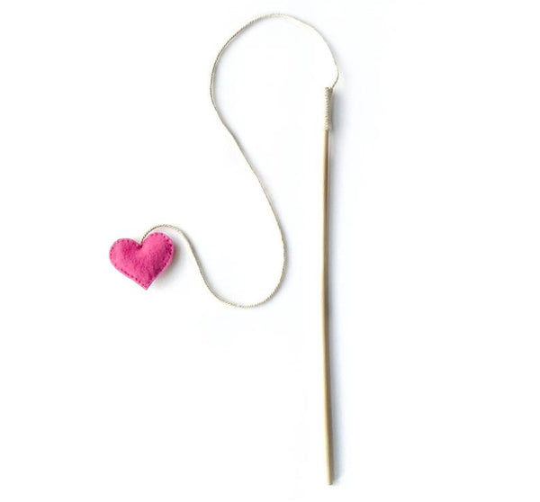 Heart-on-a-string Catnip Teaser Wand Cat Toy