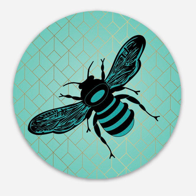 Bee/Honeycomb - Round Vinyl Sticker
