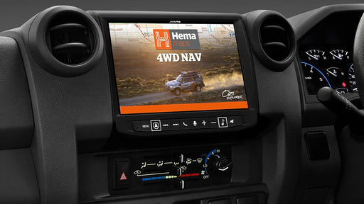 "Alpine LC70-X902D 9"" Primo 3.0 Navigation with Hema 4WD Off-Road Maps for Toyota Landcruiser 70 Series"