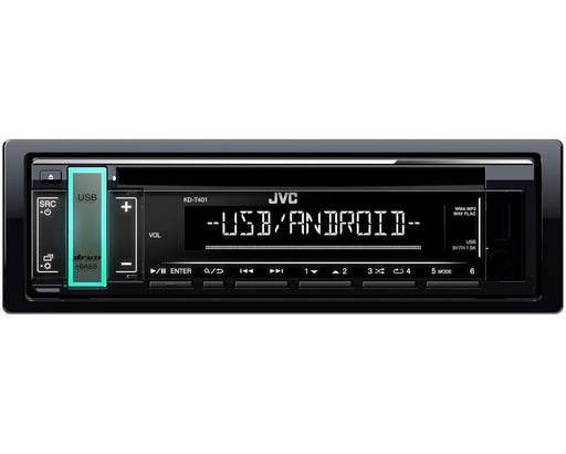 JVC KD-T401 Single DIN CD Receiver with USB / AUX Inputs