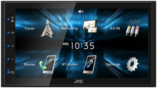 "JVC KW-M150BT Double DIN AV Receiver with 6.8"" WVGA Capacitive Monitor / USB Mirroring for Android Phones / Bluetooth / 13-Band EQ / Shallow Chassis"