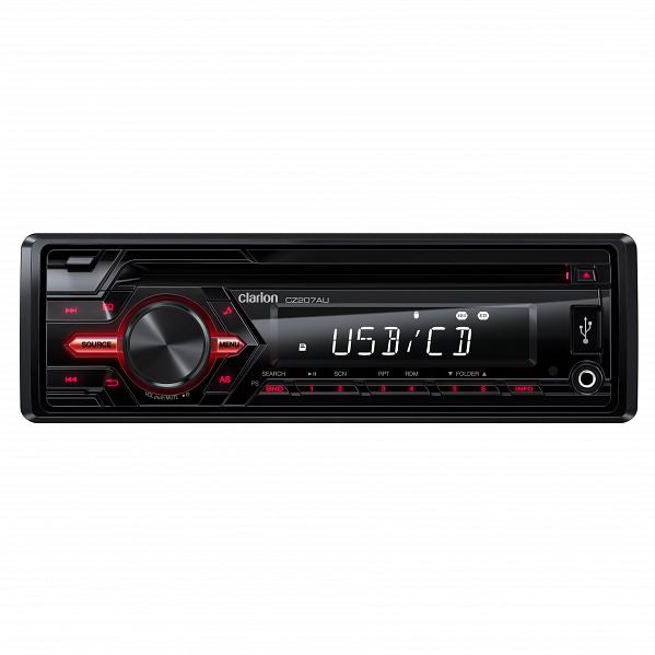 Clarion CZ207AU Single DIN Audio Receiver with CD / USB / AUX / SD / MP3 / WMA (Wireless infrared remote control included)