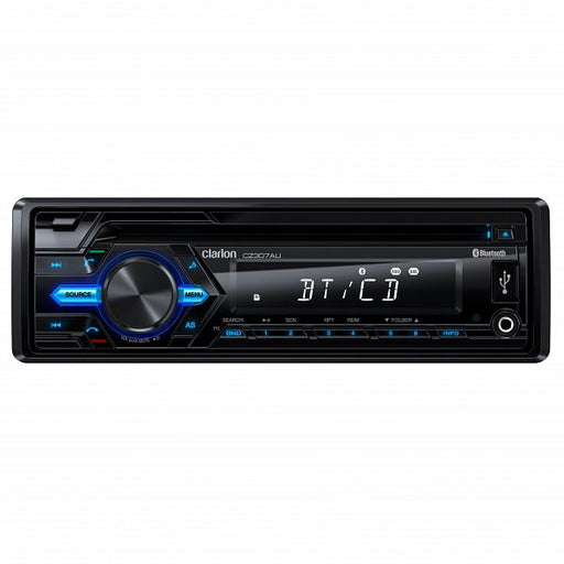 Clarion CZ307AU Single DIN Audio Receiver with Bluetooth / CD / USB / AUX / SD / MP3 / WMA (Wireless infrared remote control included)