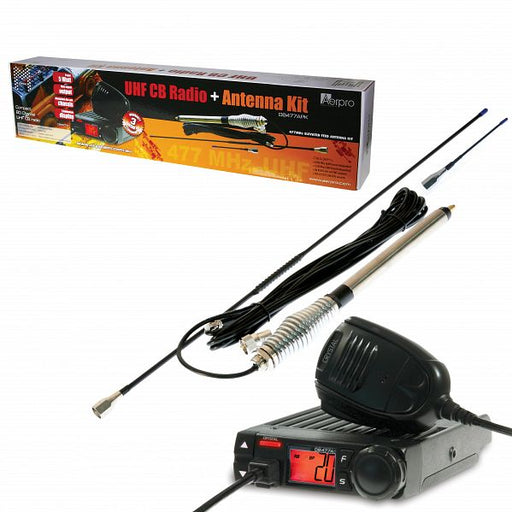 Crystal Mobile DB477APK UHF Radio & Antenna Kit (DB477A & Aerpro CBA36F1L Antenna)