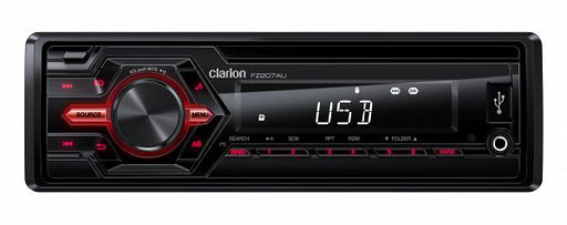 Clarion FZ207AU Single DIN Mechless Audio Receiver with USB / AUX / SD / MP3 / WMA (Wireless infrared remote control included)