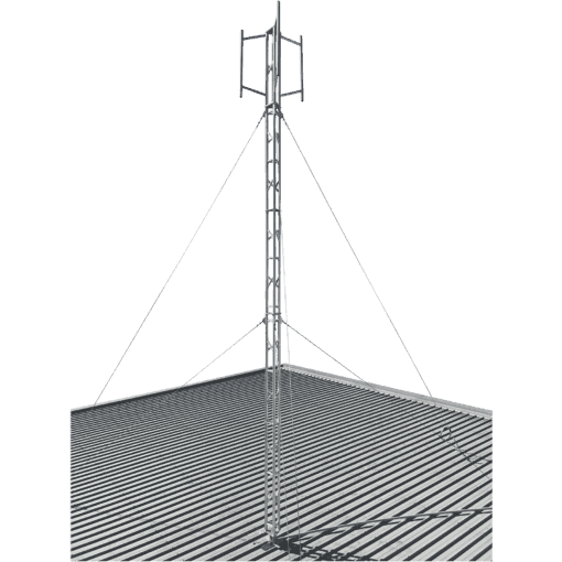 Blackhawk 220mm Aluminium Roof Mounted 3.4-metre Lattice Tower (Stainless Guyed)