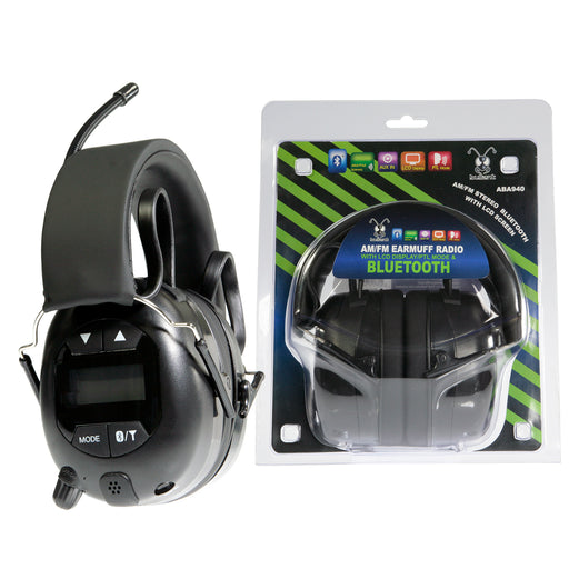 Aerpro Bullant ABA940 AM/FM Earmuff Radio Headphones (with Bluetooth Active Noise Reduction)