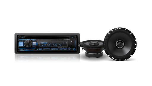 "Alpine CDE-180506 S-Series Coaxial System Bundle (CDE-173EBT CD Receiver with Bluetooth / AUX / USB / FLAC & S-S65 S-Series 6-1/2"" 2-Way Coaxial Speaker)"