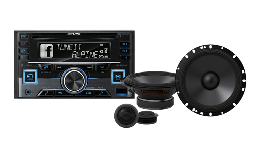 "Alpine CDE-191101 S-Series Component System Bundle (CDE-W296BT 2-DIN CD Receiver with Bluetooth / RDS / USB / iPod / iPhone / Adaptive SWC & S-S65C  S-Series 6-1/2"" 2-Way Component Speaker)"