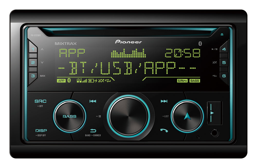 Pioneer FH-S725BT 2 DIN CD Receiver, AM/FM, Dual Phone BT, Pioneer Smart Sync compatible, Spotify, RGB Illumination, FLAC, iPhone, Android, USB, AUX, 3 Preouts