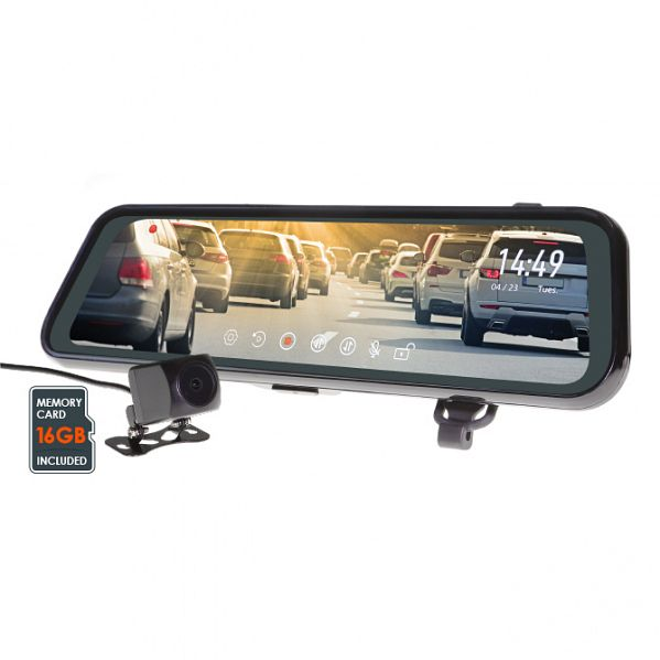 "Gator GRV95MKT 9.35"" Touch Screen Mirror Monitor with Full HD 1080P (Front) & HD 720P (Rear) Dual Dashcam [with Reverse Camera Function] - 16GB Micro SD Card Included"