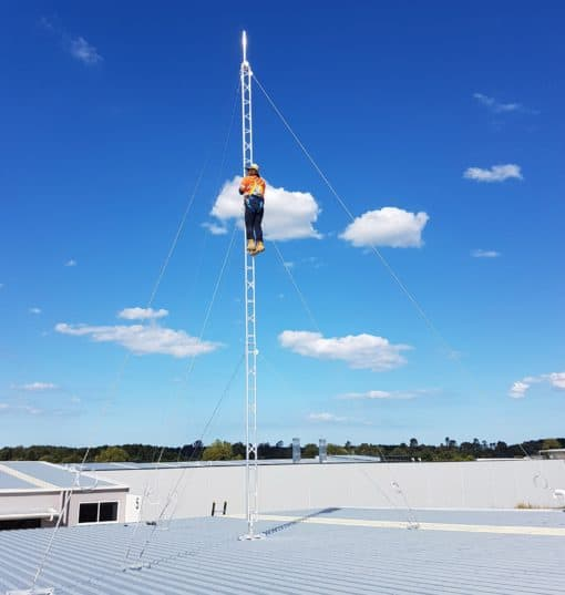 Blackhawk 220mm Aluminium Roof Mounted Lattice Tower (Galvanised Guyed | 9.6m Tower Height)