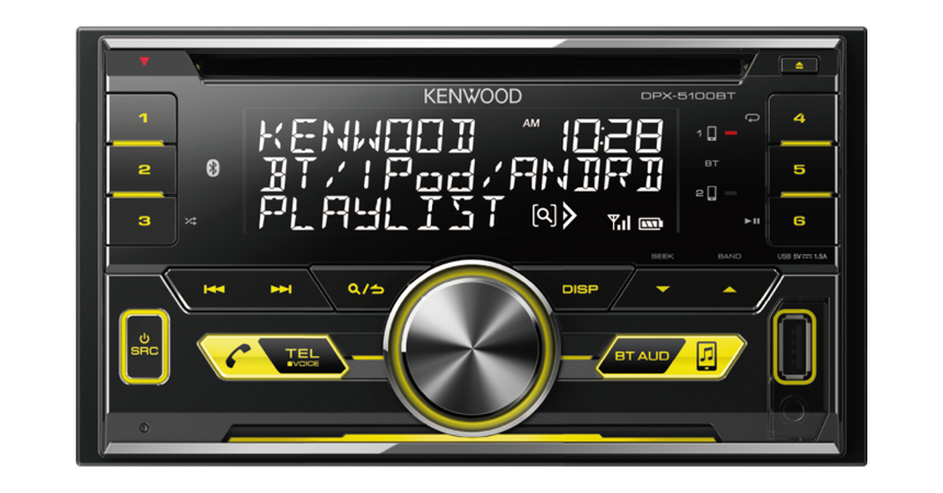 Kenwood DPX-5100BT Dual Din, USB/CD Receiver High Voltage 4.0V / 3-preouts (with Bluetooth)