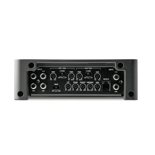 FOCAL FPX 5.1200 5 channel amplifier, D class, 4 x 75W RMS (4Ω), or 4x120W RMS (2Ω), plus 1 x 720W RMS (2Ω)