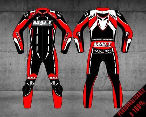 "MATT Racing Moto Custom Combinaison Enfant ""RACING"" - Cuir de vache"