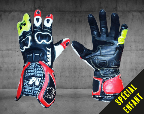 MATT Racing Moto Custom GANTS ENFANT RACING 100% PERSONNALISABLES - CUIR DE KANGOUROU