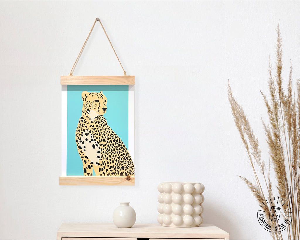 Cheetah Print with Wooden Hanging Frame