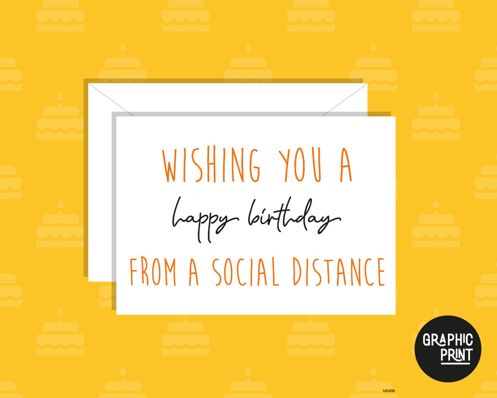 Wishing You A Happy Birthday From A Social Distance! Pandemic Lockdown Happy Birthday Card