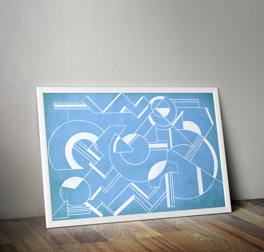 Geometric Art Deco Blue Minimal Poster