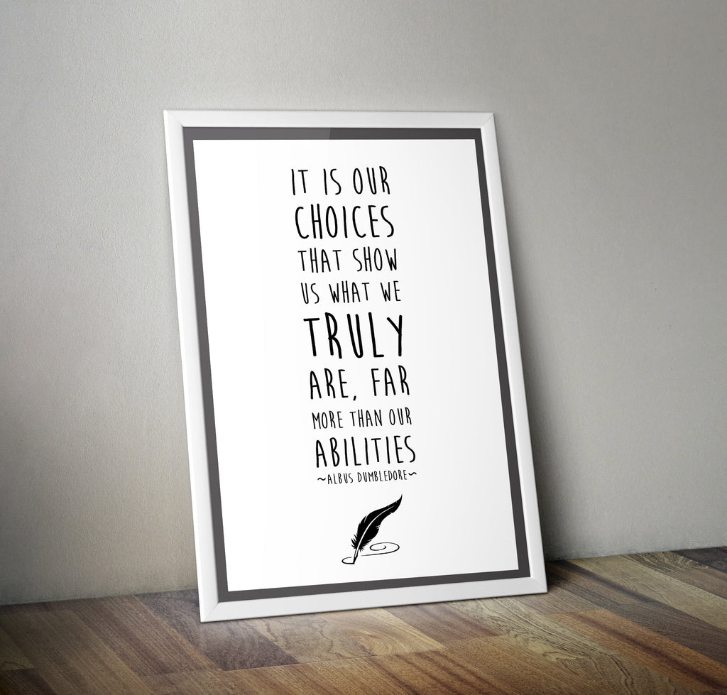 "Harry Potter Dumbledore Quote ""Choices"" Minimal Film Poster"