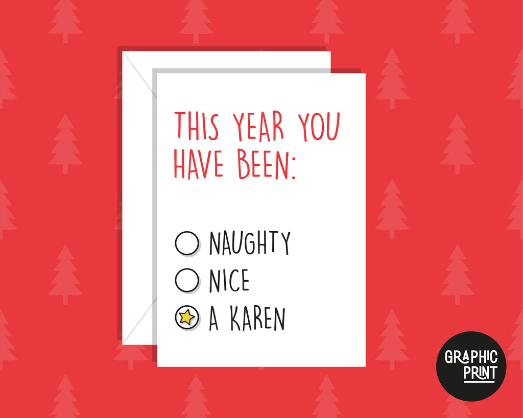 Naughty or Nice List Christmas Card, Karen Christmas Joke Card