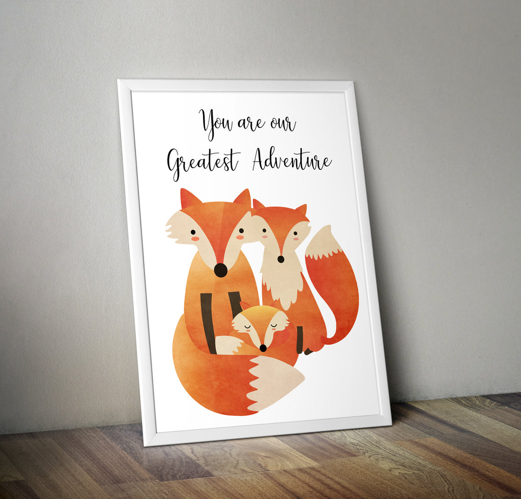 Greatest Adventure Fox Family Minimal Art Poster