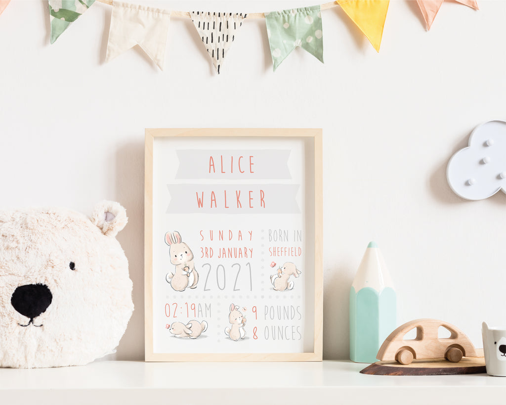 Personalised Birthdate Nursery Wall Art Print