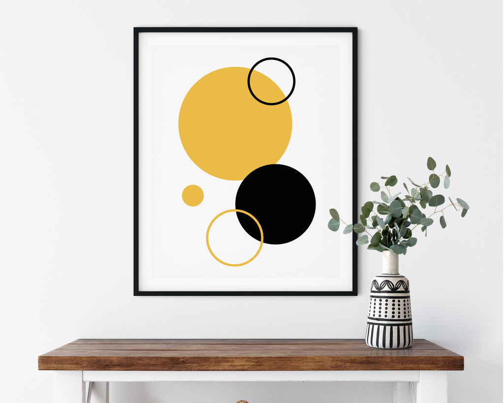 Yellow and Black Circle Composition Print