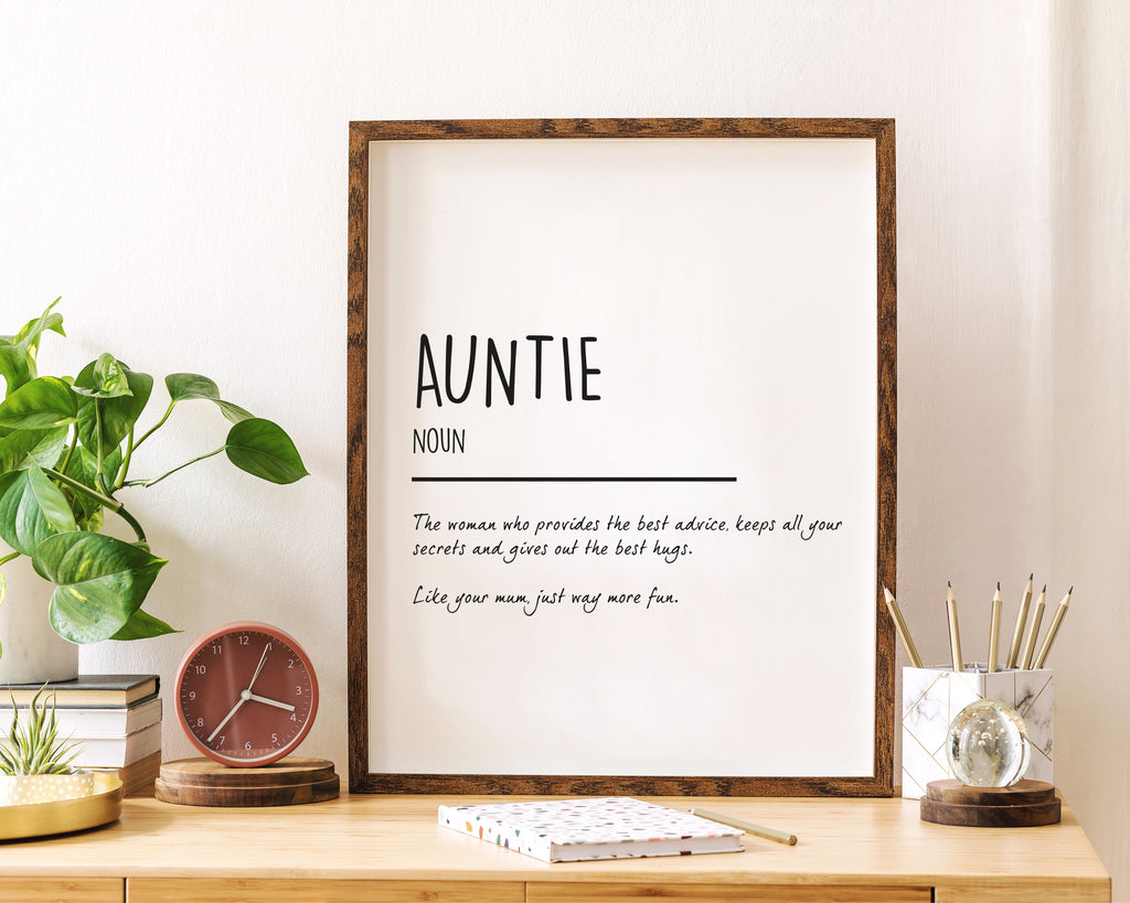 Auntie Definition Quote Wall Art Print