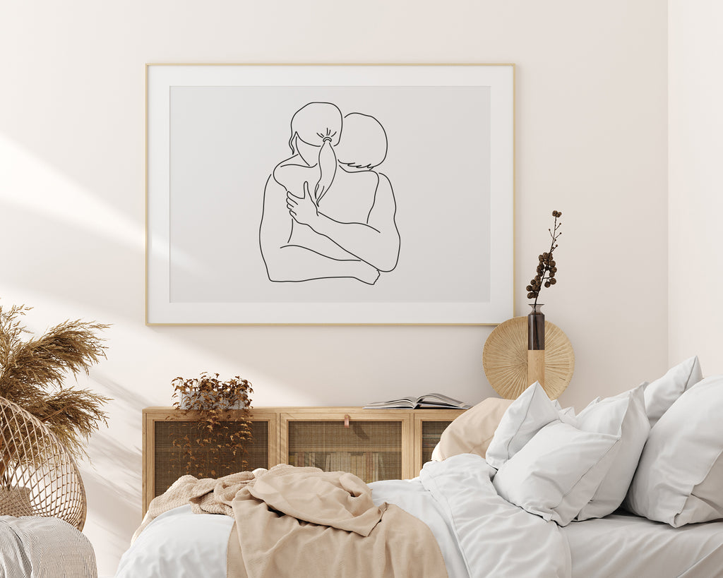 Embracing Couple Line Art Wall Print