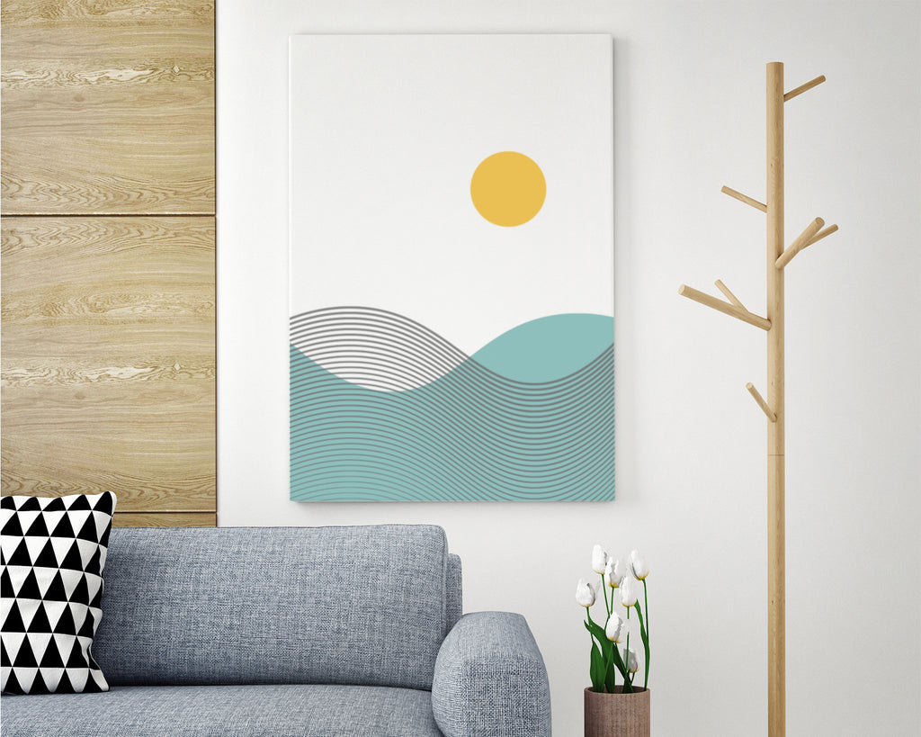 Line Art Wave Mountain Landscape Wall Art Print