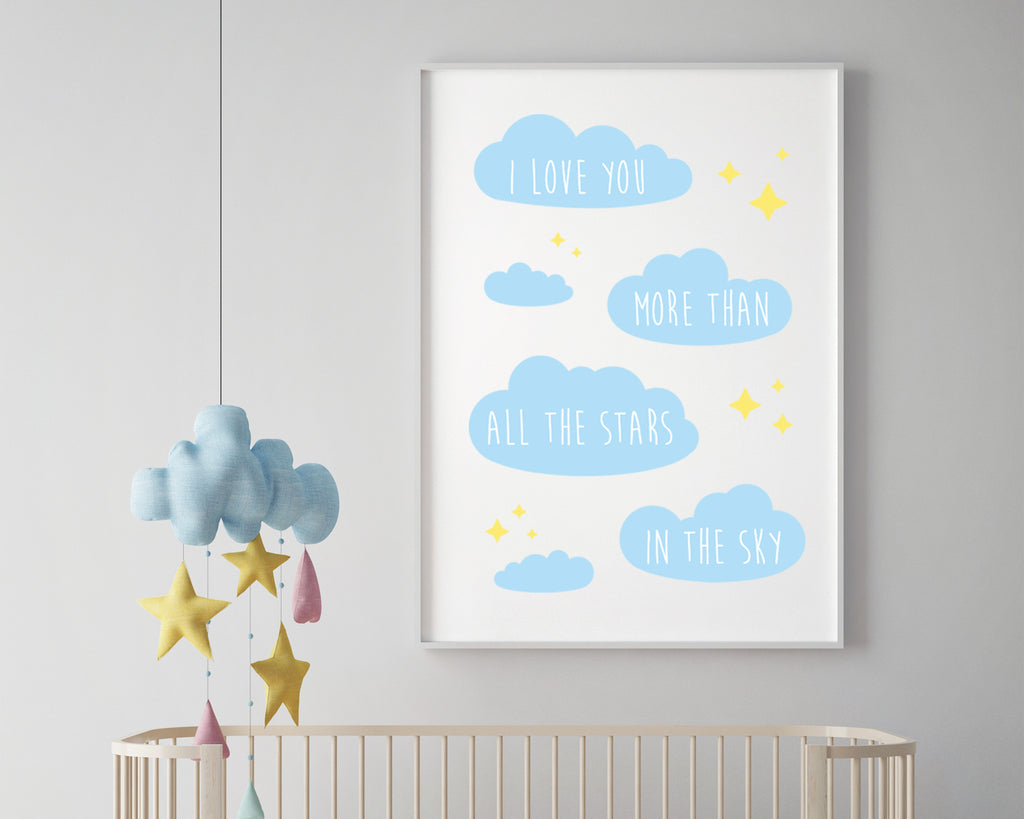 I Love You More Than All The Stars In The Sky Wall Art Print