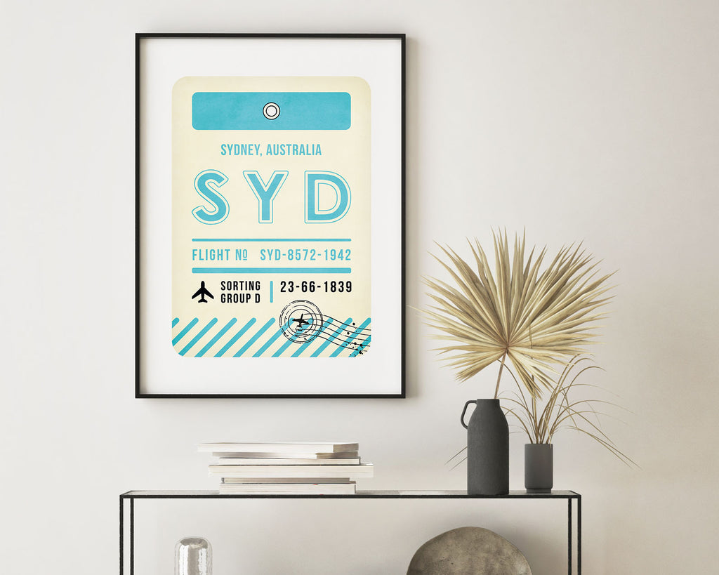 Sydney, Australia Luggage Tag Minimal Travel Poster