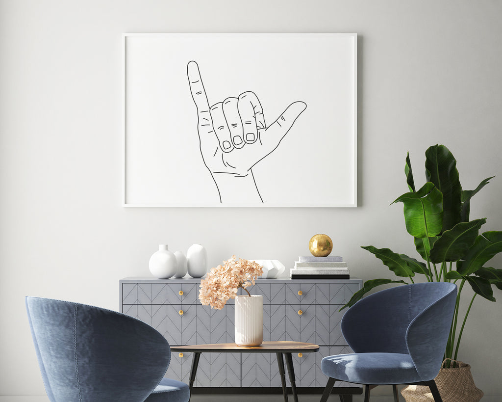 Rock On Line Art Wall Print