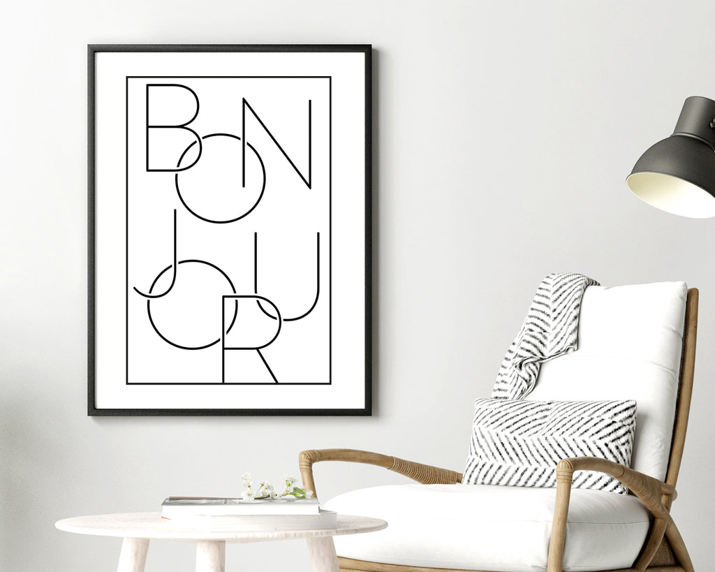 Bonjour Typography Quote Wall Art Print