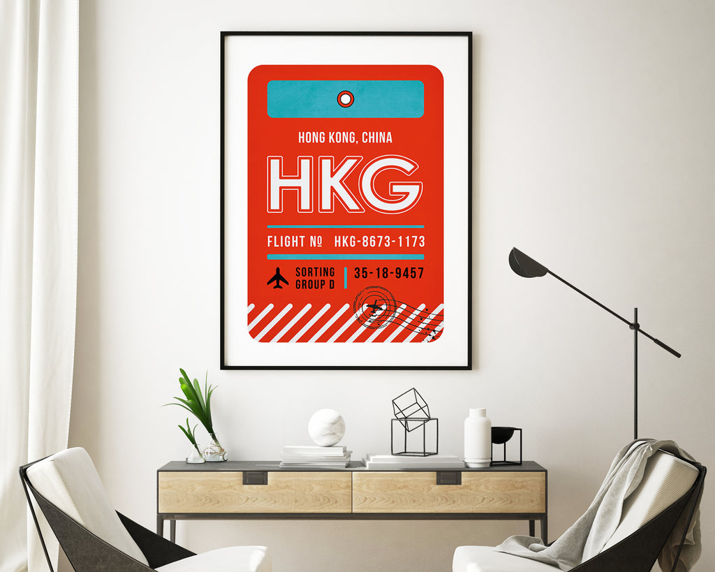 Hong Kong, China Luggage Tag Travel Poster