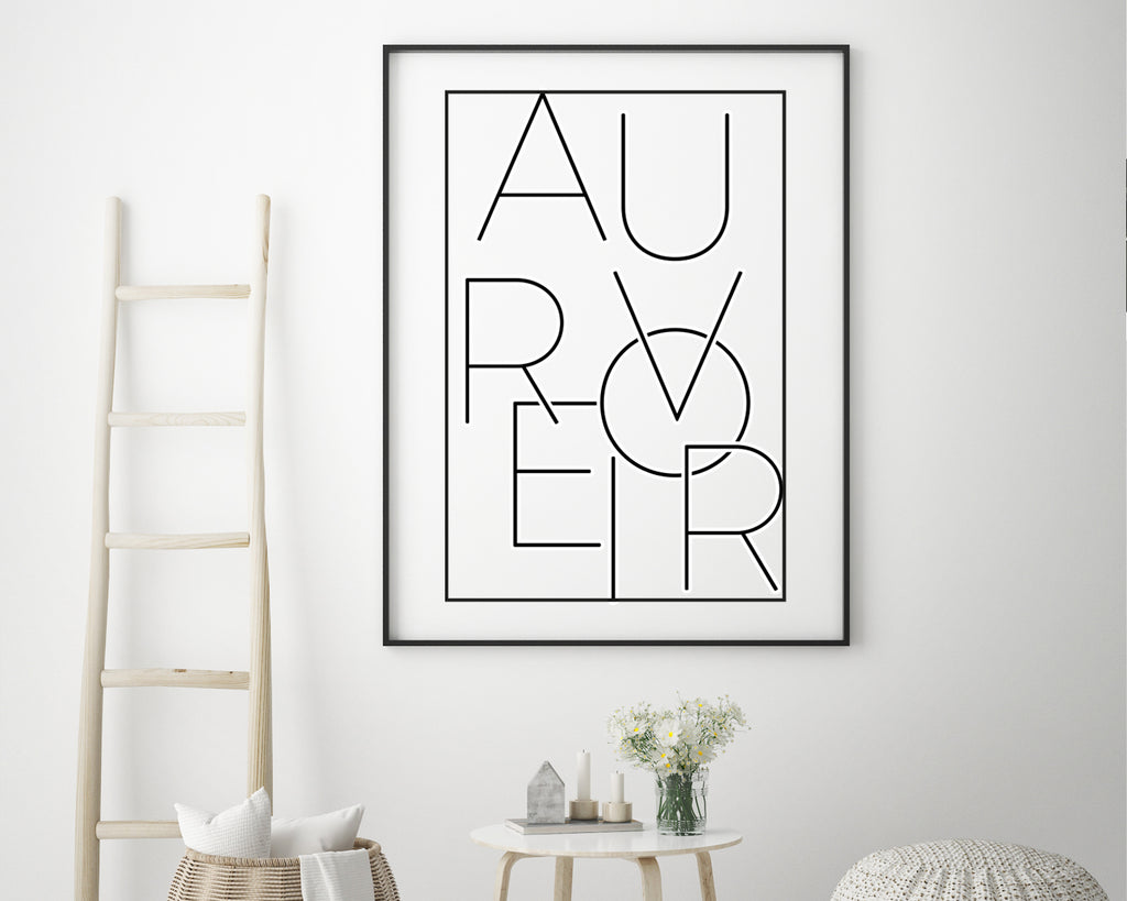 Au Revoir Typography Quote Minimal Poster Print